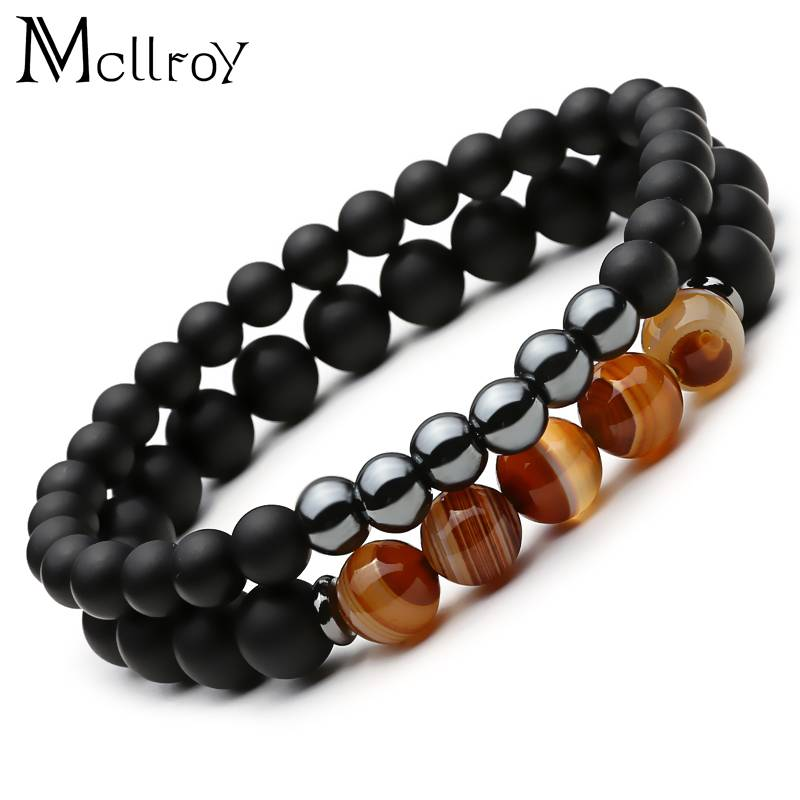 Mcllroy 2 Stks Lucky Gem Mode Natuurlijke Zwarte Mantra Gebed Kralen Boeddha Armband voor Vrouwen en