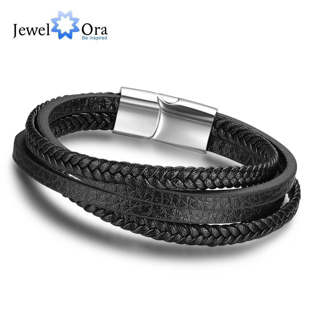 Lederen Armbanden Voor Mannen Sieraden Rvs Armbanden & Bangles Mode Bestevoor Mannen (JewelOra BA101