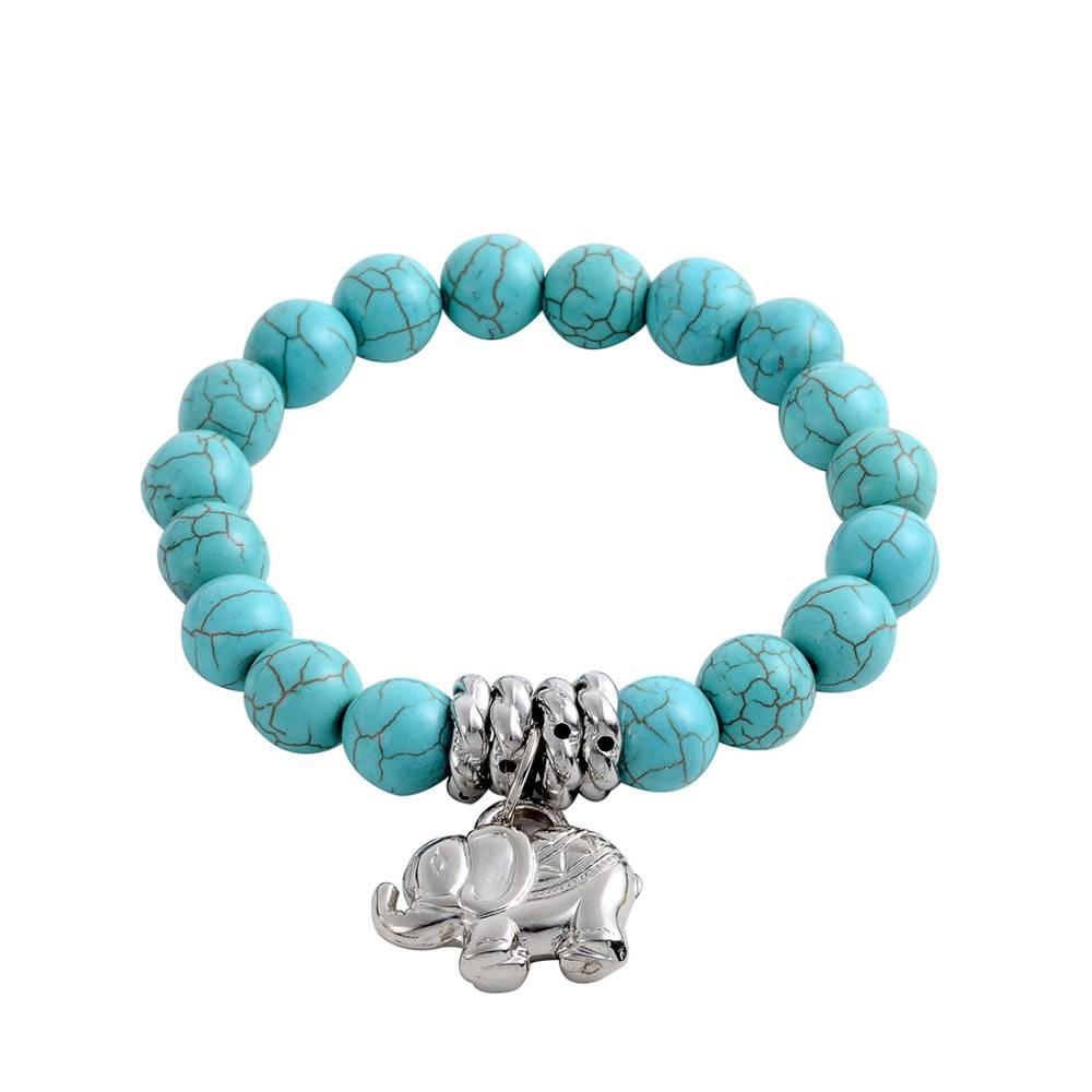 ZOSHIArmbanden & BanglesVintage Bohemen Steen Tibetaans Zilveren Olifant charm Stretch armband siera