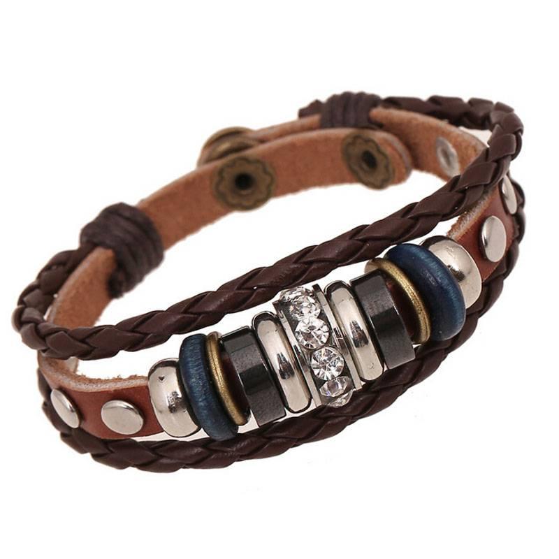 BA193Vintage Crystal Charm Lederen Verstelbare Armband Sieraden Bijouterie Unisex Meisjes Vrouw