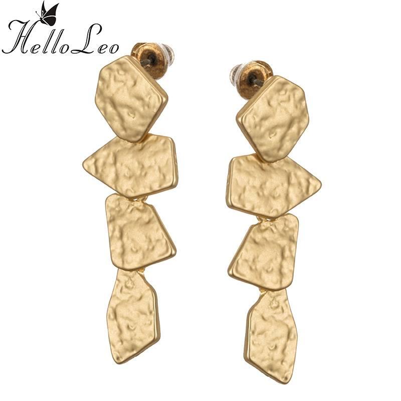 Mode Charmes Punk Gouden Dangle Lange Oorbellen Sieraden Steen vorm Lange Oorbellen Accessoires Voor