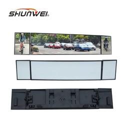 MyXL Universele Auto Achteruitkijkspiegel Groothoek Panoramisch Anti-dazzling Interieur Achteruitkijkspiegel Grote Vision 380mm Gebogen Spiegel
