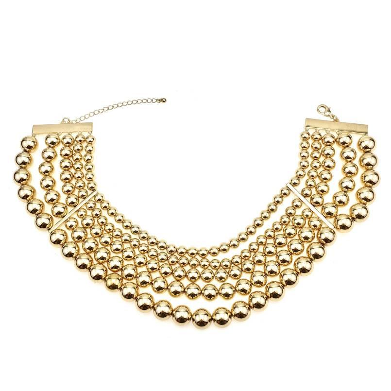 MANILAI Mode 5 Gelaagde Gouden Kralen Chokers Kettingen Voor Vrouwen Statement Sieraden Kraag Chunky