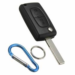 MyXL 2 Knop Flip Afstandsbediening Sleutelhanger Case Shell Blade + Sleutelhanger Voor PEUGEOT 207 307 308
