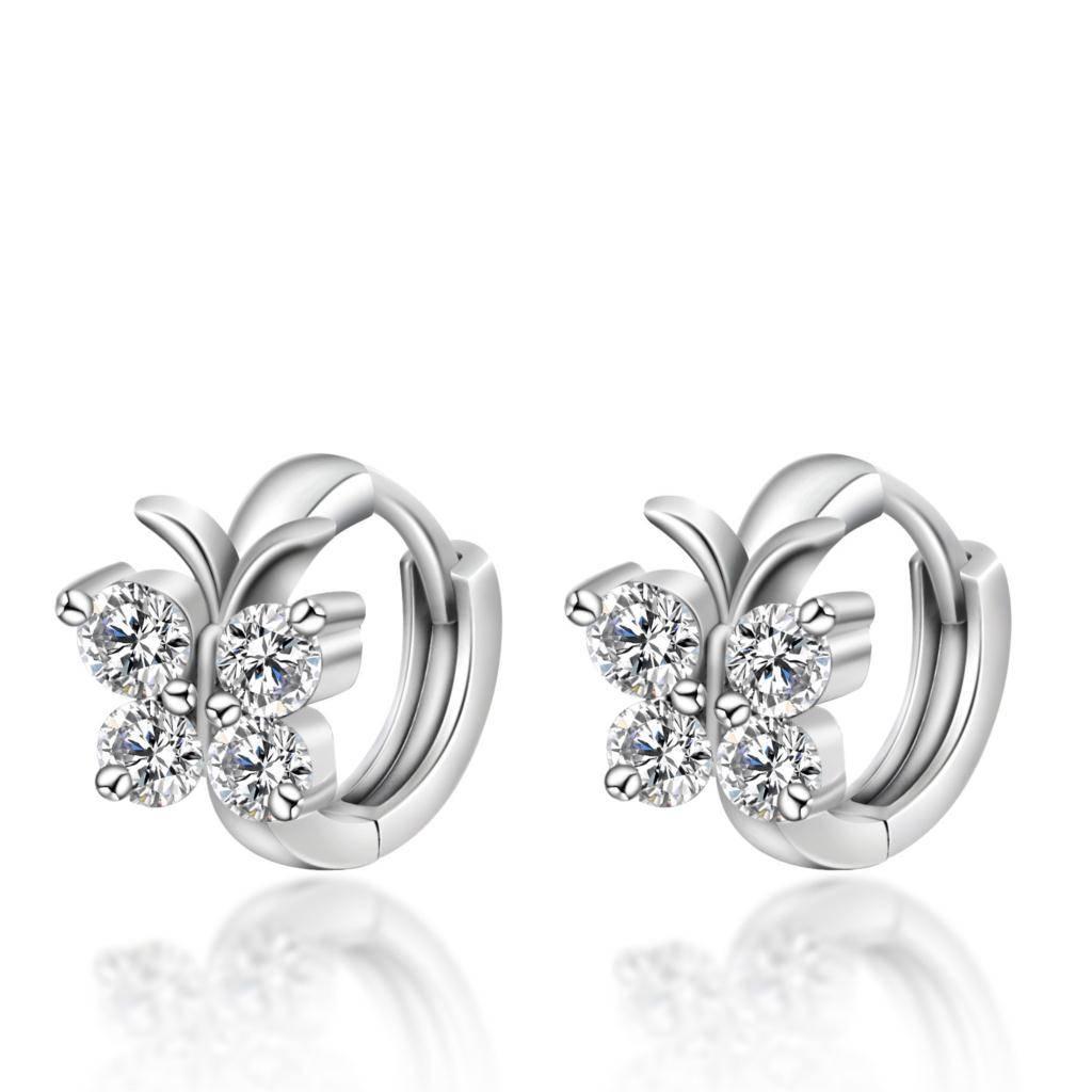 925 Sterling Zilver Luxe Kristal Oorbellen Vlinder Ontwerp Oorbel Voor Vrouwen Meisje Oor Sieraden