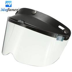 MyXL Universele 3-Snap Retro Open Gezicht Motorhelm Flip Up Vizier Shield Lens Transparant