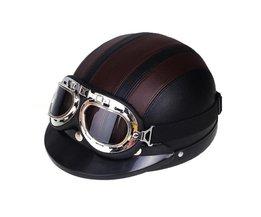 CARCHET Motorhelm ABS Afneembare Vizier Goggles Veiligheid Bruin Zwart Helmen Motocross Half Helmen cascos para moto
