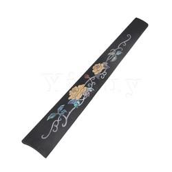MyXL Yibuy 27 cm Lengte Zwart Ebbenhout Houten Viool Toets Toets Onderdelen voor 4/4 Viool Ingelegd Rose Patroon