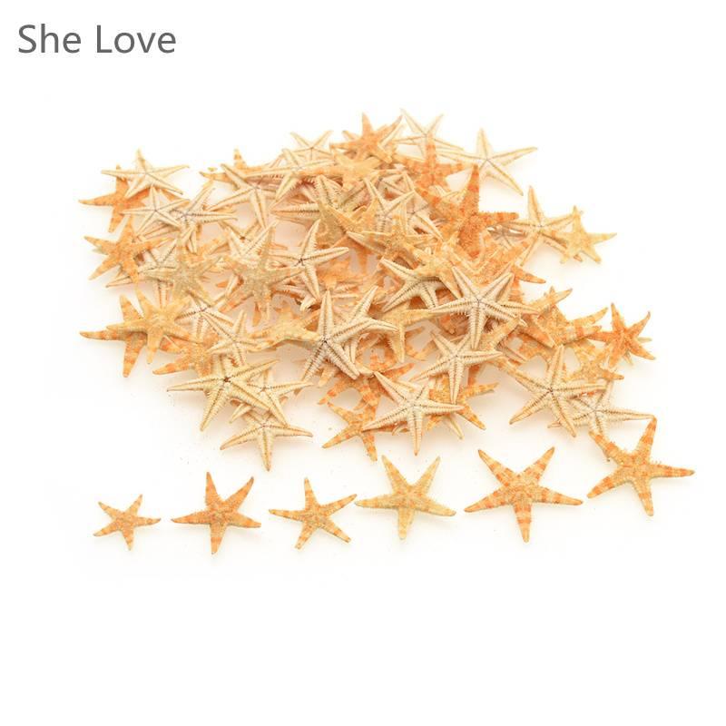100 stks Mini Zeester Craft Decoratie Natuurlijke Zee Sterren DIY Strand Cottage Wedding Decor