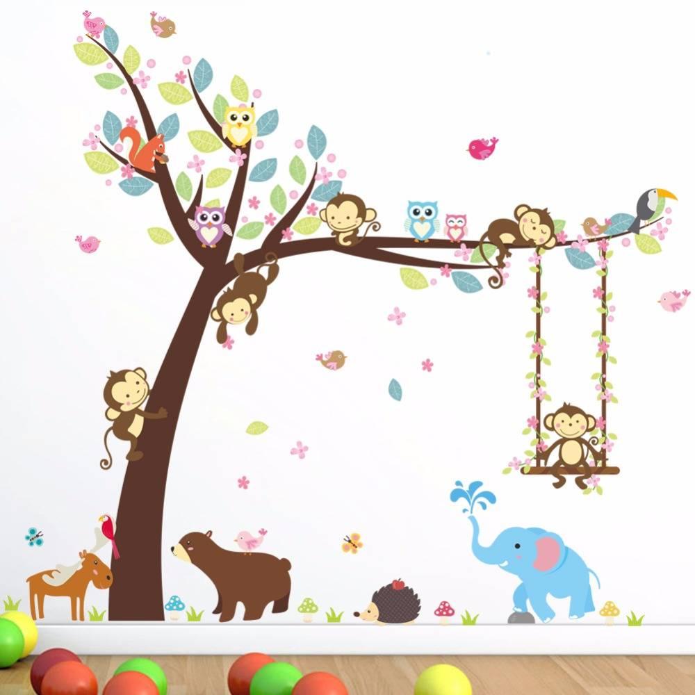 Jungle Decoratie Kinderkamer.Bos Dieren Tree Muurstickers Voor Kinderkamer Aap Beer Jungle Wilde