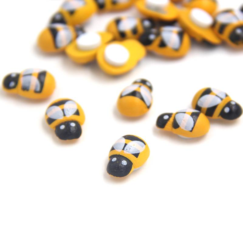 Woondecoratie 100 Stks-partij Mini Bee Houten Lieveheersbeestje Spons zelfklevende Stickers Koelkast