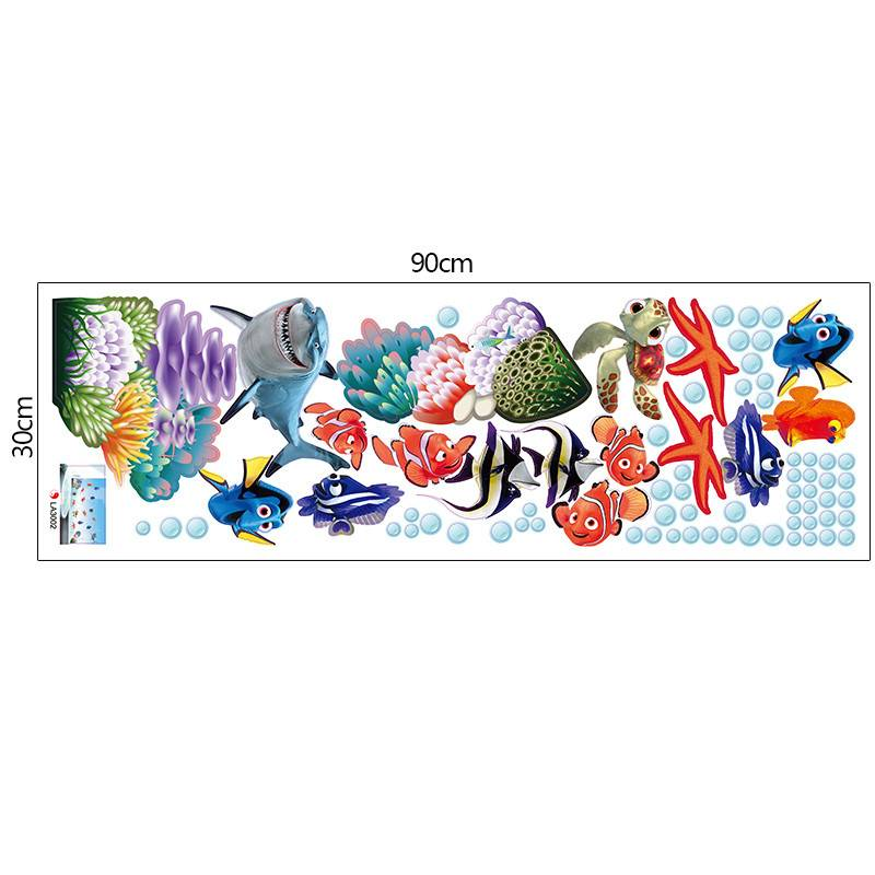 Prachtige Sea world verwisselbare 3d vinyl wall art stickers venster decals badkamer decor decoratie