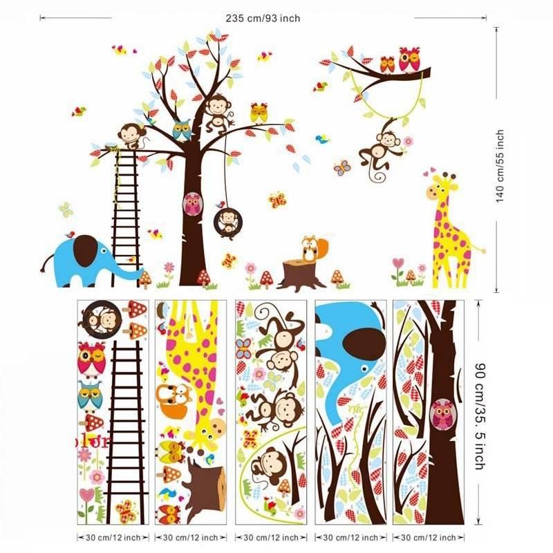 Decoratie Boom Kinderkamer.Grote Boom Dier Muurstickers Voor Kinderkamer Decoratie 1213 Aap