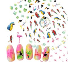 1 Vellen Tropische Flamingo Specht Sticker Nail Art3D ontwerpen voor Nagellak Gel Manicure Tips Nail Folies Nail Decals TRF247