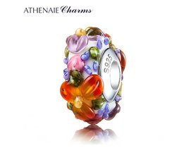 ATHENAIE Murano Glas 925 Zilveren Core Hawaiian Maui Bloemen Lei Charm Bead Pandora Armband en Ketting Mode DIY Sieraden
