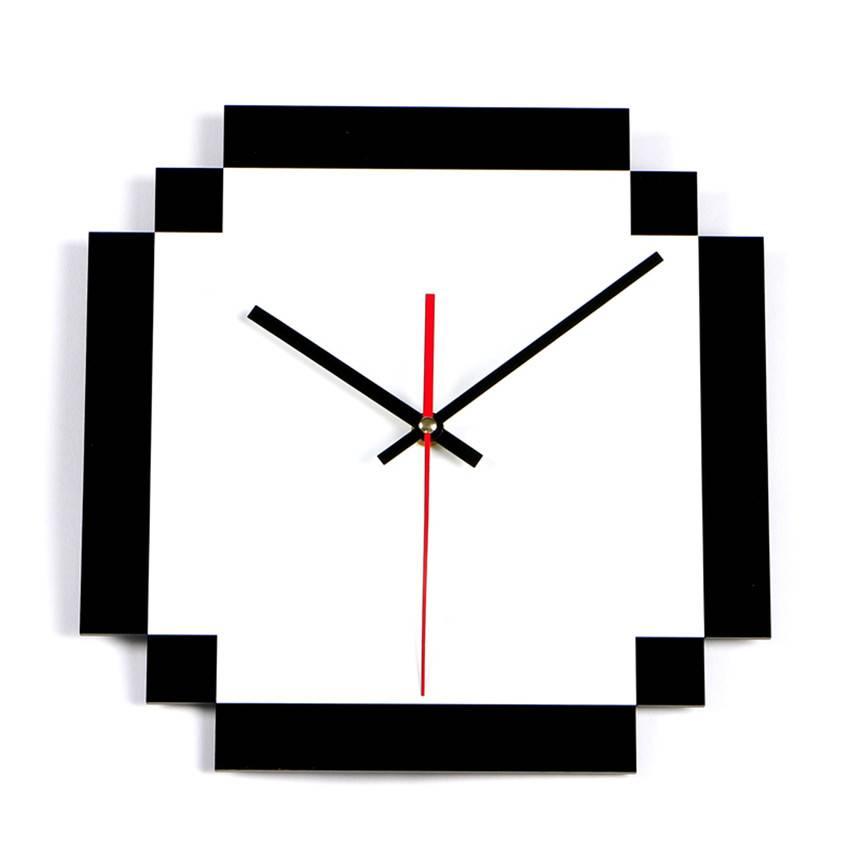Grote Wandklok Zwart Wit Grid Klok Stille Thuis decoratie Acryl Muur Horloge Woonkamer Moderne Relog