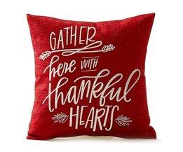 Seizoen Zegen Verzamelen Hier Met Dankbaar Harten In Rood Thanksgiving Geschenken Katoen Sierkussen Case Vierkante Rood + wit