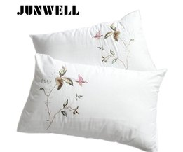Junwell 2 stks Borduren Vlinder ruche kussen sham korte rimpel handgemaakte kussensloop beddengoed decoratieve kussenslopen prinses