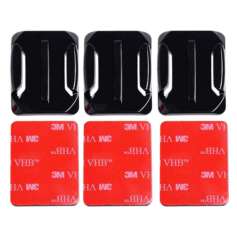 QQT 40 stks/set 20 stks Gebogen Oppervlak Mount Base + 20 stks 3 M Lijm Voor Gopro Hero 6 5 4 3 + voor Xiaomi Yi voor SJ4000 GT14-3
