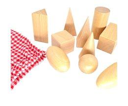 BOHS Leren & Onderwijs BOHS Cognitieve Math Speelgoed Montessori Houten Geometrische Vormen Solids Geometrie Blokken Set 10 stks/set