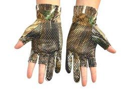 1 Paar Anti Slip Elastische Vissen Handschoenen skid Antislip Vingerloze Jacht Vissen Kamp Gel Handschoen Camouflage Comfortabele Ne