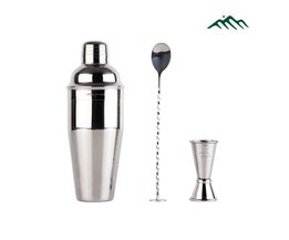 Greenhill 3 Stuks Bar Cocktail Shaker Bartool Kit bevat 24 oz 18-8 Rvs Shaker, Double End Jigger & Bar Lepel <br />  GREENHILL