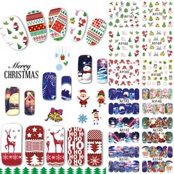 MyXL 48 Ontwerpen/Veel Kerst Beauty Nail Sticker Set Cartoon Volledige Tip Decals DIY Xmas Tattoos Nail Art Decoratie TRA1129-1176 <br />  Tracy Simple Nail