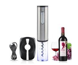 Top Kwaliteit Oplaadbare Elektrische Wijn Flesopener Automatische Wijn Opener Corkscrew Bar Tool-Zilver + Transparant <br />  HIPSTEEN