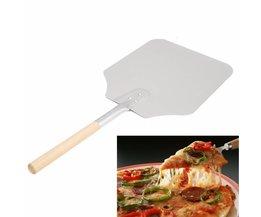 Rvs Taart Schop Bakken Tools Houten Handvat Pizza Schop Kaas Cutter Peels Lifter Gereedschap Kaas Schop <br />  V587