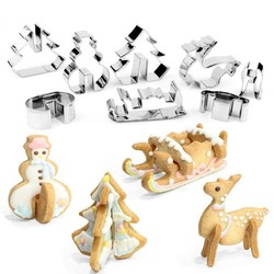 MyXL 8 Stuks 3D KERST Scenario Cookie Cutter Set Rvs Snowman Biscuit Schimmel Kerstboom Mold Herten Slee Snoep Cutter <br />  Goldbaking