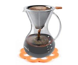 Hand Crafted Glas met Handvat Giet over Koffiezetapparaat met Rvs Herbruikbare Filter, 800 ml/5-Cup <br />  EASEHOLD