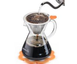 Hand Crafted Glas met Handvat Giet over Koffiezetapparaat met Rvs Herbruikbare Filter, 500 ml <br />  EASEHOLD