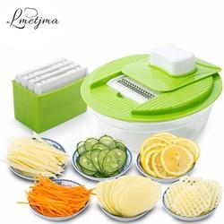 MyXL Mandoline Groente Slicer Dicer Fruit Cutter Slicer Met 4 Verwisselbare Rvs Blades Aardappel Slicer Tool <br />  LMETJMA