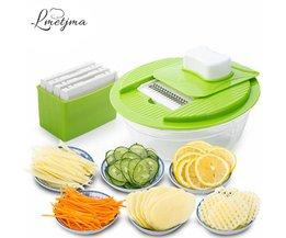 Mandoline Groente Slicer Dicer Fruit Cutter Slicer Met 4 Verwisselbare Rvs Blades Aardappel Slicer Tool <br />  LMETJMA