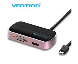 Ventie Type-C Input VGA/HDMI/USB 3.0 Output Splitter, 1 tot 3 Type C 3 out 4 k voor macbook pro notebook scherm HUB <br />  Vention