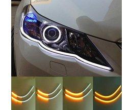 2 stks 60 cm Auto Flexibele Strip LED Amber Sequentiële Flasher Vloeiende Switchback Richtingaanwijzer Angel Eye DRL Lamp koplampen <br />  AUXITO
