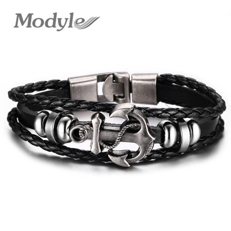 Mode-sieraden Multilayer Rvs Anker Armband voor Vrouwen Leer Armbanden & Bangles Mannen Sieraden   M