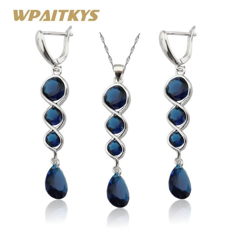 Donkerblauw Zirconia Sieraden Sets Zilver Kleur Ketting Hanger Lange Oorbellen Voor Vrouwen Gratis G