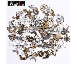 Kupla vintage metalen gemengde ster maan charmsretro pentagram hanger diy handgemaakte charms voor sieraden maken 100 stks/partij <br />  MyXL