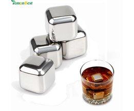 4 Stks Whiskey rvs Stenen Whisky ijs koeler voor Whisky bier Bar huishoudelijke Huwelijkscadeau Gunst Kerst <br />  LemonBest