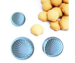 3 Stks/set Shell Vorm Lente Cookie Gereedschap Plastic Plunger Cutters Biscuit Plakken Suiker Druk Mallen Cake Decorating Tool <br />  MyXL