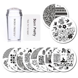 MyXL GEBOREN PRETTY 10 Stks Stempelen Plaat met Clear Jelly Stamper Set Bloem Kant Ronde Nail Art Template Image Plaat Kit <br />  Born Pretty