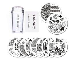 GEBOREN PRETTY 10 Stks Stempelen Plaat met Clear Jelly Stamper Set Bloem Kant Ronde Nail Art Template Image Plaat Kit <br />  Born Pretty