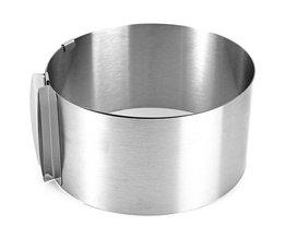 1 Stks Ring Bakken Tool Set Bakvormen Intrekbare Roestvrijstalen Cirkel Mousse Cakevorm Gereedschap Size Verstelbare Bakvormen 16-30 cm <br />  KING SARAS