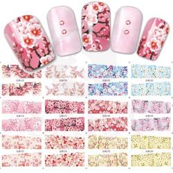 MyXL 12 Ontwerpen/set Volledige Cover Warp Kleurrijke Bloem Stijl Nail Art Water Transfer Sticker Voor Nail Art Decoratie SABN073-084 <br />  Sara Nail Salon