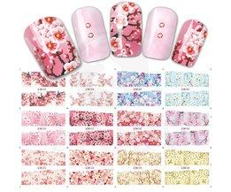 12 Ontwerpen/set Volledige Cover Warp Kleurrijke Bloem Stijl Nail Art Water Transfer Sticker Voor Nail Art Decoratie SABN073-084 <br />  Sara Nail Salon