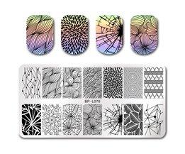 GEBOREN PRETTY Rechthoek Stempel Plaat Lijn Netto Ontwerp Nail Art Tmeplate Manicure Nail Stamping Afbeelding Plaat BP-L078 <br />  Born Pretty