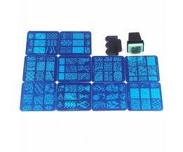 10 Stks Verschillende Desgin NaiL Art Stempel Stempelen Platen Met 1 Stks Gratis Stamper DIY Afbeelding Manicure Gereedschap Set # WJ016 <br />  MyXL