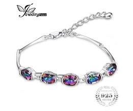6ct Concave Oval Echt Mystieke Rainbow Topaz Armband Solid 925 Sterling Zilver Prachtige GloedSieraden <br />  JewelryPalace