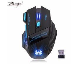 Professionele Draadloze Muis Gaming Muis Optische 2400 DPI 2.4G Computer Mouse LED 7 toetsen Gaming Muizen Voor Pro Gamer<br />  ZELOTES